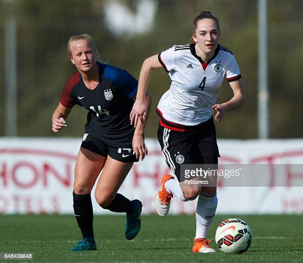 Sophia Kleinherne of Germany competes for the ball with Civana Kuhlmann of USA during the international friendly match between Germany Women U19 and...
