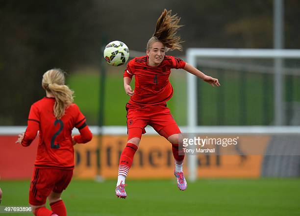 Sophia Kleinherne of Germany heads the ball during Women's U16s International Friendly match between England U16s Women and Germany U16s Women at St...