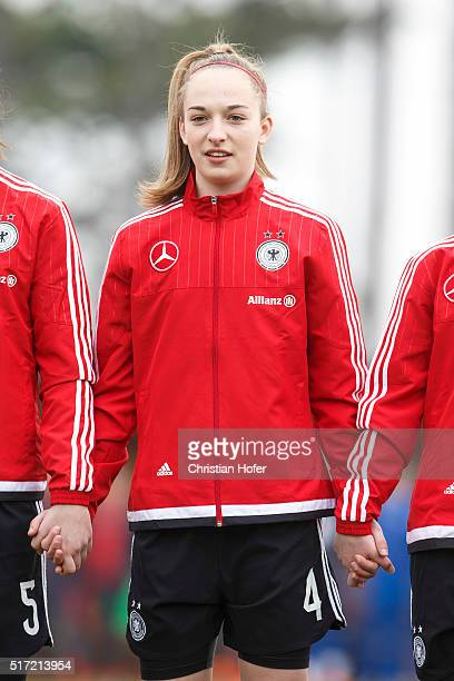 Sophia Kleinherne of Germany lines up during the national anthem prior to the U17 Girl's Euro Qualifier match between Germany and Switzerland on...