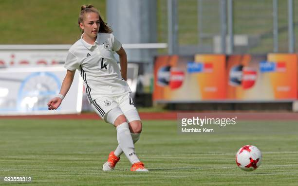 Sophia Kleinherne of Germany runs with the ball during the U19 women's elite round match between Germany and Iceland at Friedensstadion on June 7...