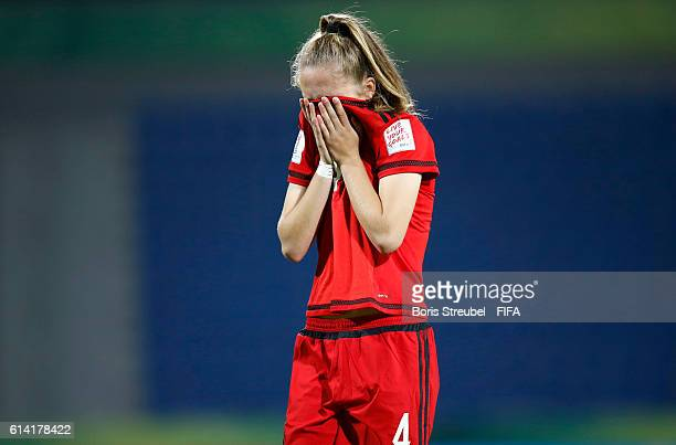 Sophia Kleinherne of Germany shows her frustration after losing the FIFA U17 Women's World Cup Quarter Final match between Germany and Spain at Amman...