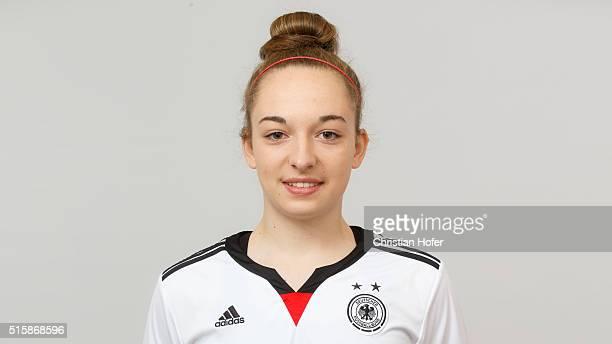 Sophia Kleinherne of Germany U17 poses during the Germany U17 team presentation on March 15 2016 in Oberwaltersdorf Austria