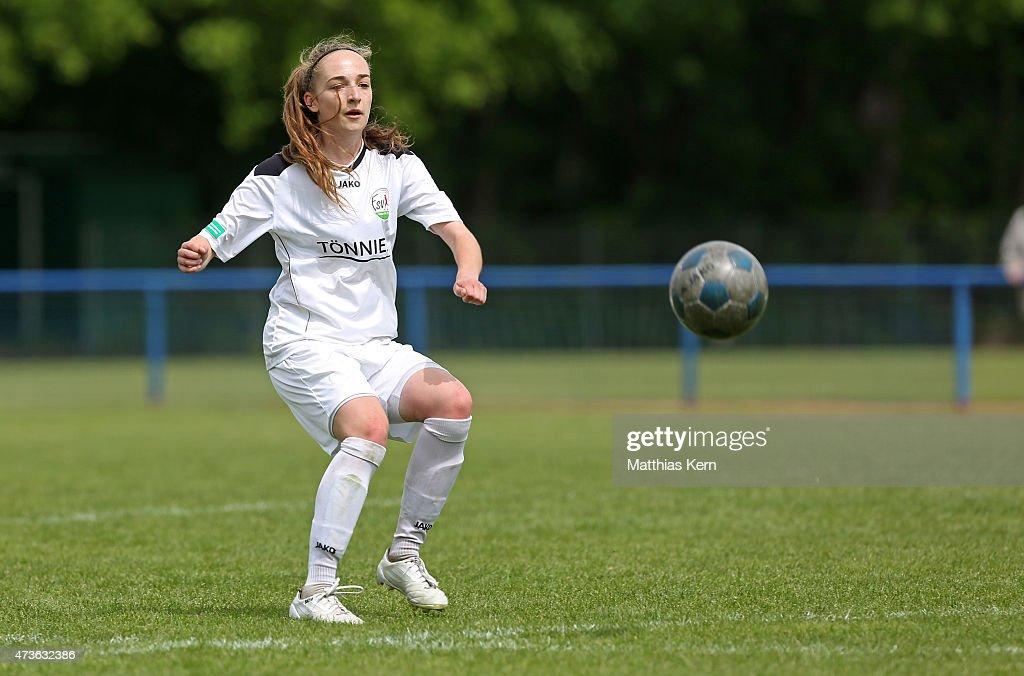 Sophia Kleinherne of Guetersloh runs with the ball during the U17 Girl's Bundesliga semi final first leg match between Turbine Potsdam and FSV...