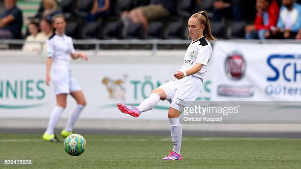 Sophia Kleinherne of Guetersloh runs with the ball during the U17 Girl's German Championship Semi Final Second Leg match between FSV Guetersloh and...