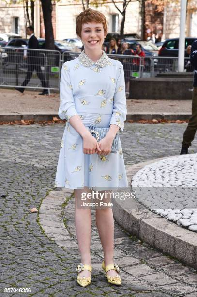 Sophia Lillis is seen arriving at Miu Miu show during Paris Fashion Week Womenswear Spring/Summer 2018 on October 3 2017 in Paris France