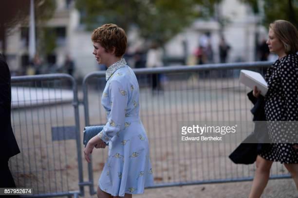 Sophia Lillis outside Miu Miu during Paris Fashion Week Womenswear Spring/Summer 2018 on October 3 2017 in Paris France