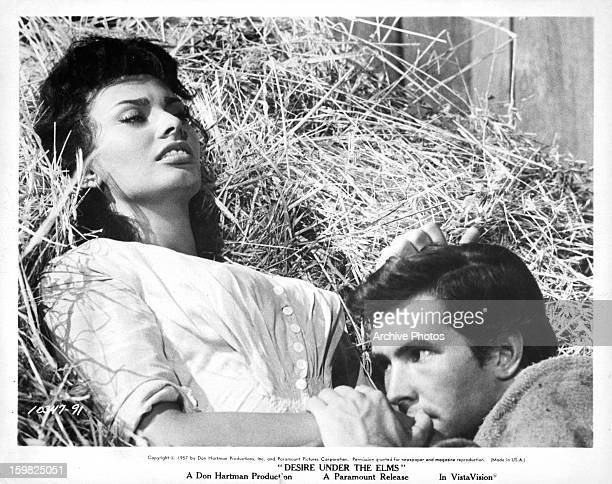 Sophia Loren and Anthony Perkins getting intimate in a scene from the film 'Desire Under The Elms' 1958