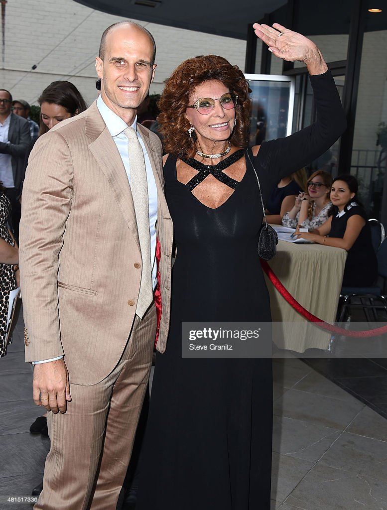 Sophia Loren and Edoardo Ponti arrives at the Premiere Of DIRECTV's 'Dark Places' at Harmony Gold Theatre on July 21, 2015 in Los Angeles, California.