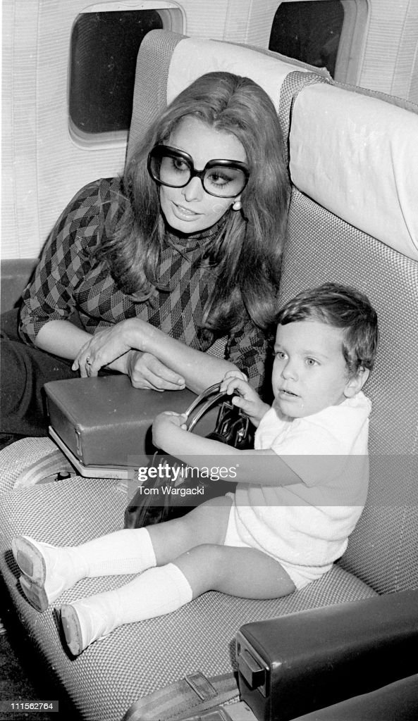 Sophia Loren and her son Carlo Jr. during Sophia Loren Sighting at JFK Airport - May 17, 1971 at JFK Airport in New York City, United States.