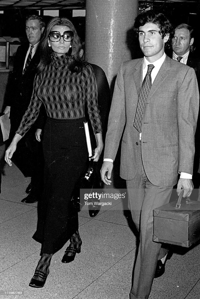 Sophia Loren and her stepson during Sophia Loren Sighting at JFK Airport - May 17, 1971 at JFK Airport in New York City, United States.