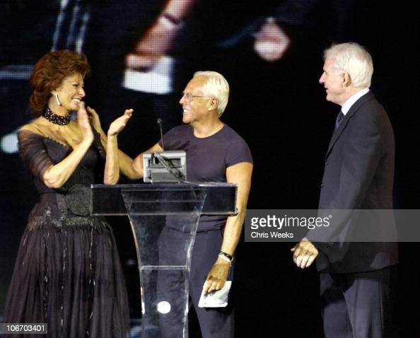 Sophia Loren Giorgio Arman and Steve Martin during Giorgio Armani Receives The First Rodeo Drive Walk Of Style Award at Rodeo Drive Walk Of Style in...