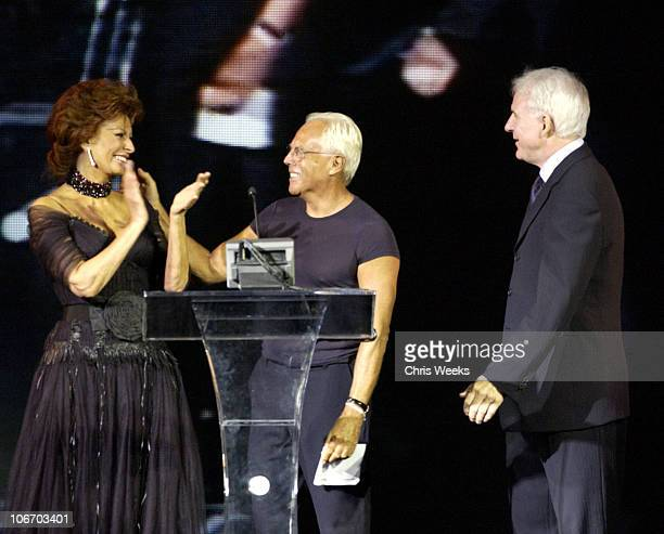 Sophia Loren Giorgio Arman and Steve Martin during Giorgio Armani Receives The First Rodeo Drive Walk Of Style Award at Rodeo Drive Walk Of Style in...