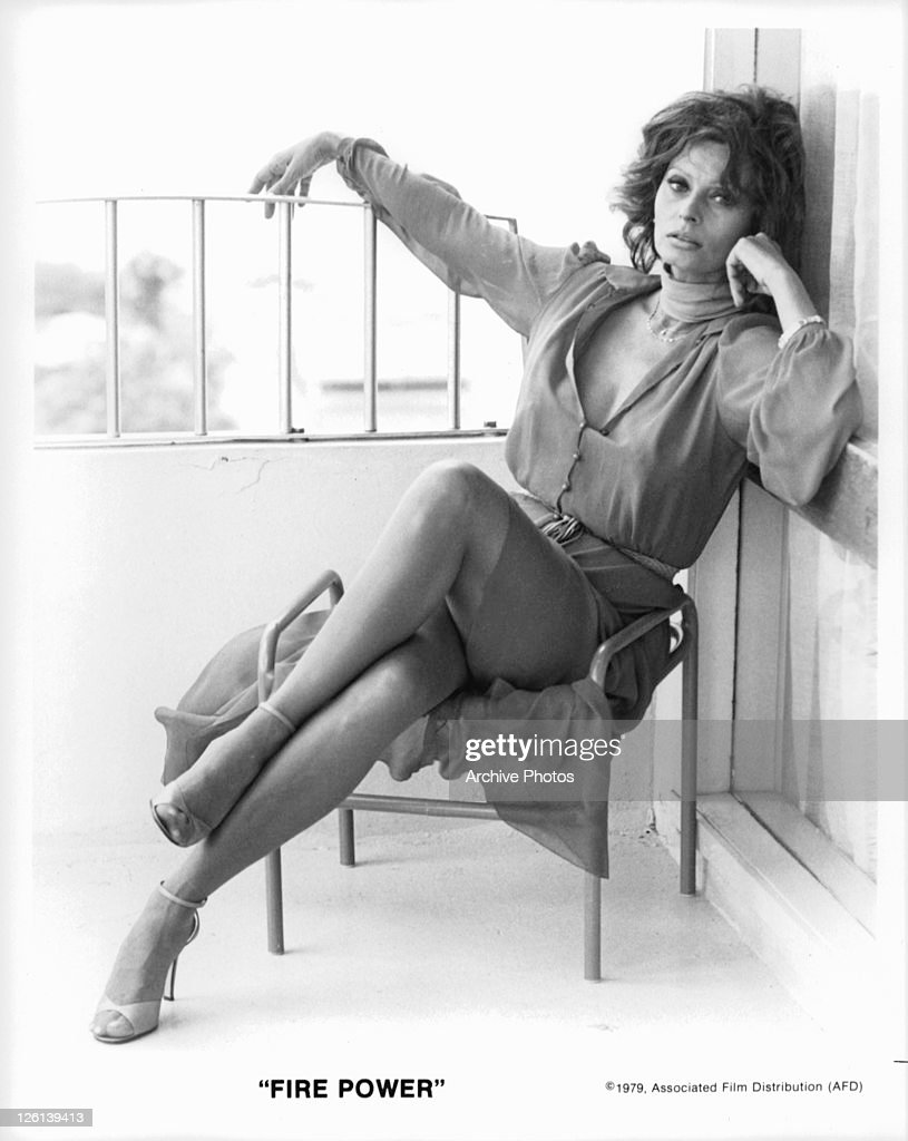 Sophia Loren in a sexy pose in a scene from the film 'Fire Power' 1979