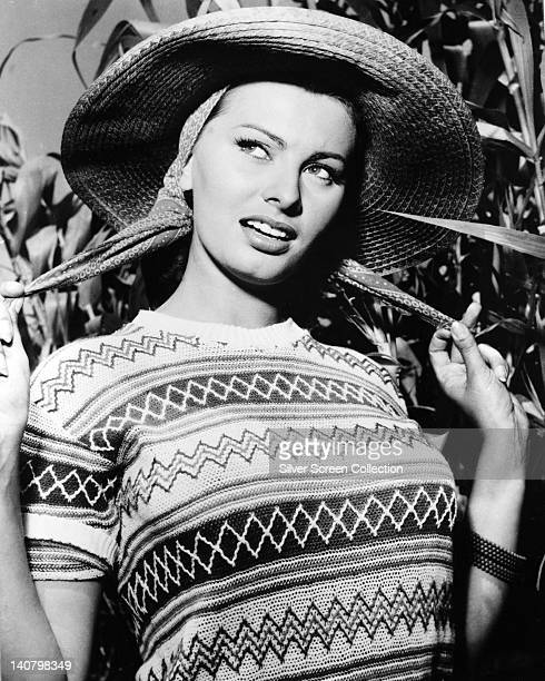 Sophia Loren Italian actress wearing a shortsleeve jumper and a widebrim straw hat circa 1950
