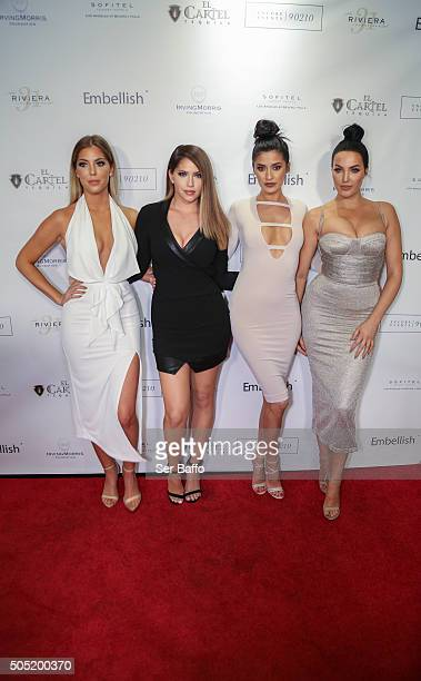 Sophia Pierson Olivia Pierson Natalie Halcro and Nicole Williams attend Larry English's Birthday Party at Sofitel Hotel on January 15 2016 in Los...