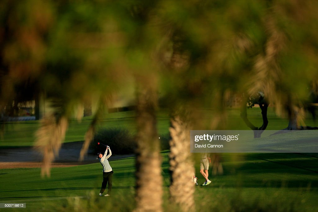 Sophia Popov of Germany plays her second shot on the par 5 10th hole during the second round of the 2015 Omega Dubai Ladies Masters on the Majlis...
