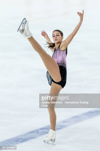 Sophia Schaller of Austria competes in the Junior Ladies Short Program on day 2 of the ISU Junior Grand Prix of Figure Skating at Eis Arena Salzburg...