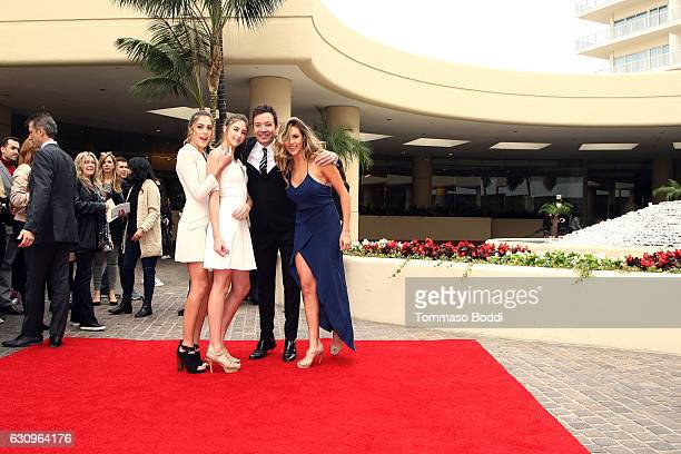 Sophia Stallone Sistine Stallone Scarlet Stallone and Jimmy Fallon attend the 74th Annual Golden Globe Awards Preview Day at The Beverly Hilton Hotel...