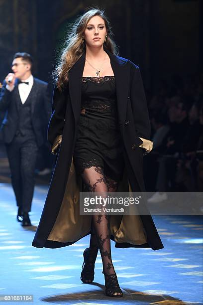 Sophia Stallone walks the runway at the Dolce Gabbana show during Milan Men's Fashion Week Fall/Winter 2017/18 on January 14 2017 in Milan Italy