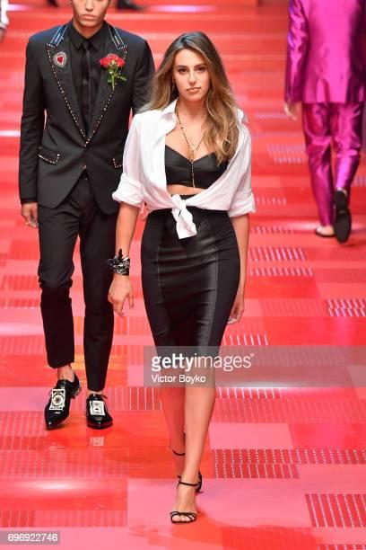 Sophia Stallone walks the runway at the Dolce Gabbana show during Milan Men's Fashion Week Spring/Summer 2018 on June 17 2017 in Milan Italy