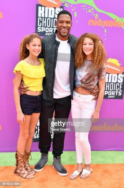 L Sophia Strahan Michael Strahan and Isabella Strahan attend Nickelodeon Kids' Choice Sports Awards 2017 at Pauley Pavilion on July 13 2017 in Los...