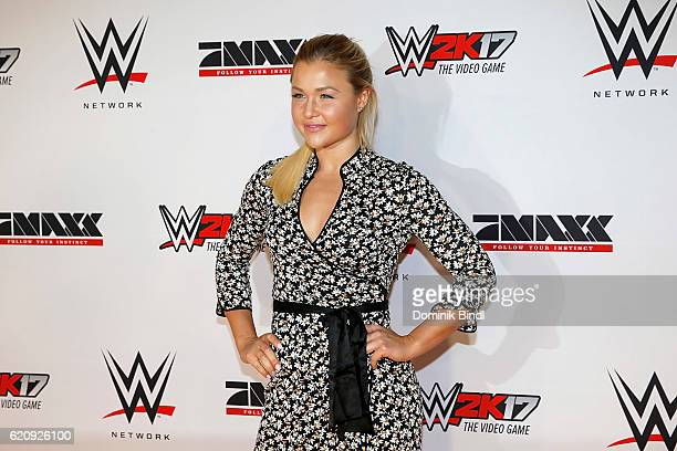 Sophia Thiel attends Tim Wiese's first WWE fight at Olympiahalle on November 3 2016 in Munich Germany