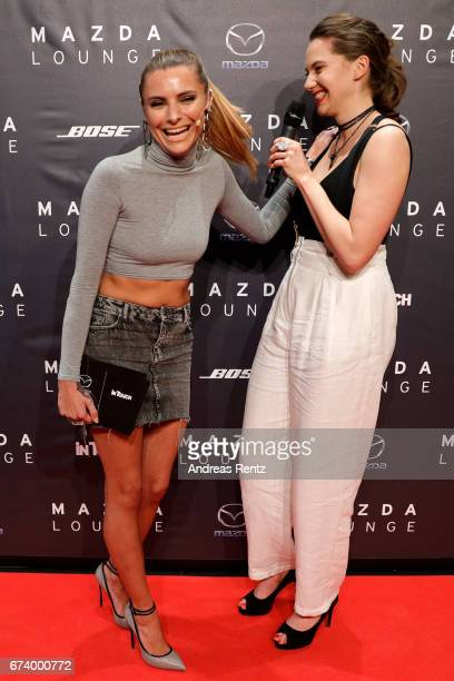 Sophia Thomalla and Emma Kathleen Ferrer attend the spring cocktail hosted by Mazda and InTouch magazine at Mazda Pop UpStore on April 27 2017 in...