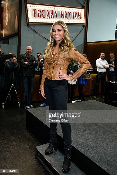 Sophia Thomalla poses at the booth of Freaky Nation during Panorama fair at Messe Berlin on January 20 2015 in Berlin Germany