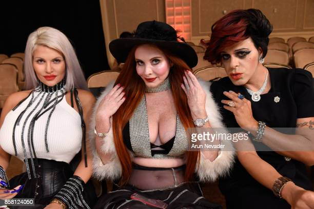 Sophia Vegas Phoebe Price and Sham Ibrahim at Los Angeles Fashion Week SS18 Art Hearts Fashion LAFW on October 5 2017 in Los Angeles California