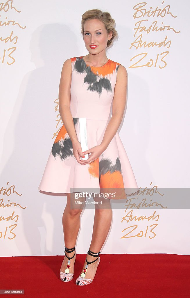 Sophia Webster poses in the winners room at the British Fashion Awards 2013 at London Coliseum on December 2, 2013 in London, England.