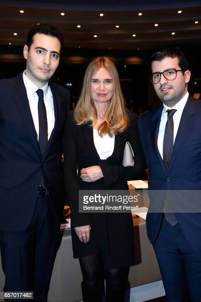 Sophie Agon standing between JeanVictor Meyers and Nicolas Meyers attend the '2017 L'Oreal UNESCO for Women in Science' 19th Awards Ceremony at...