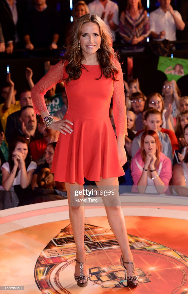 Sophie Anderton enters the Celebrity Big Brother House at Elstree Studios on August 22, 2013 in Borehamwood, England.