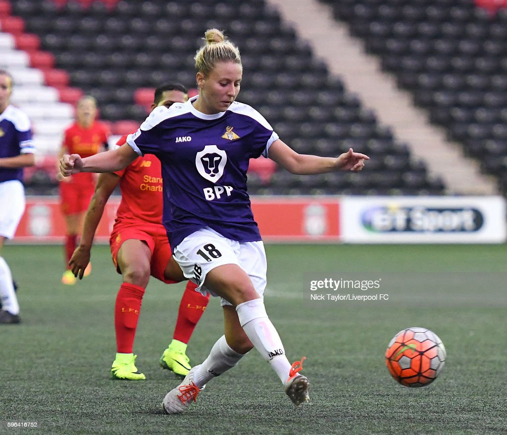 Sophie Barker of Doncaster Rovers Belles in action during the Liverpool Ladies v Doncaster Rovers Belles WSL 1 match on August 27 2016 in Widnes...