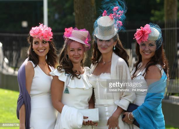 Sophie Barnaz Pala Bavis Tanaz Bizadji and Alexandra Russell show off their fashion choices at Ascot Racecourse Berkshire