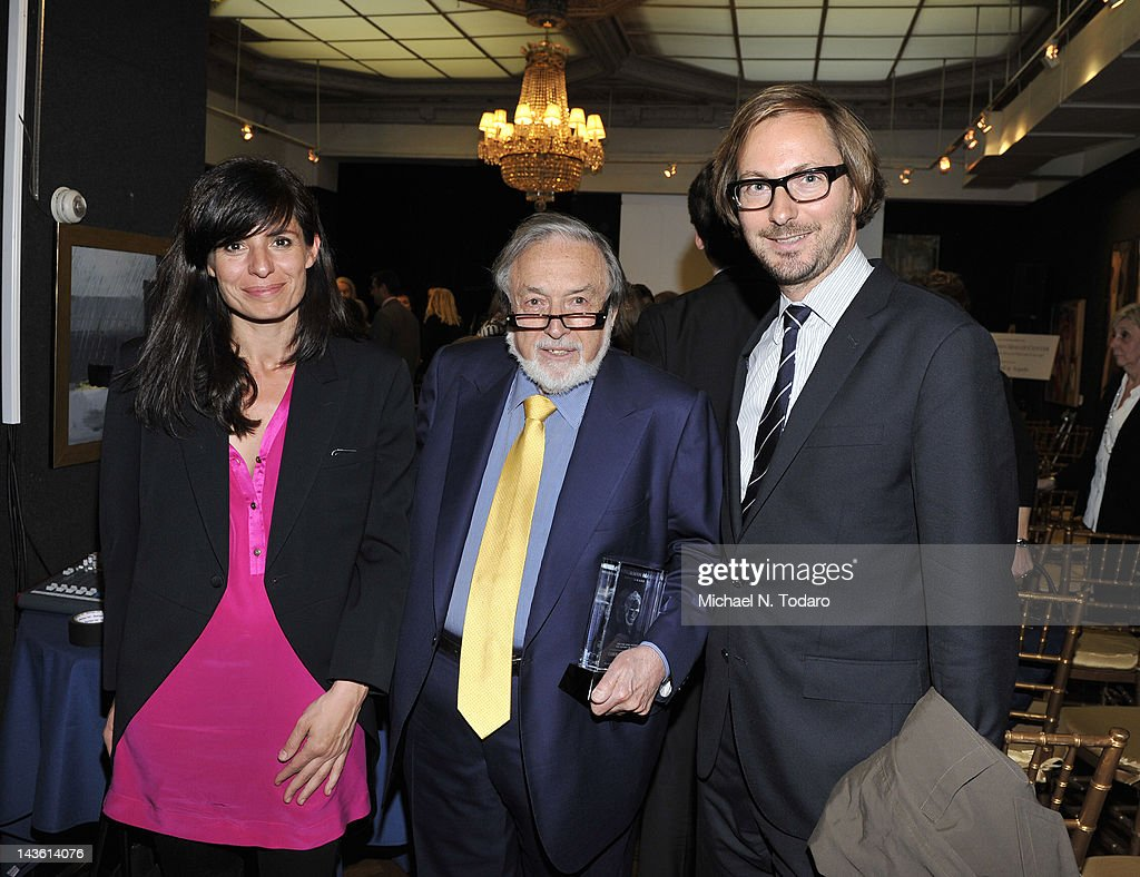 Sophie Biscard, Lawrence Schiller and Nicolas Bos attend the Norman Mailer Center Commendation Awards at The National Arts Club on April 30, 2012 in New York City.