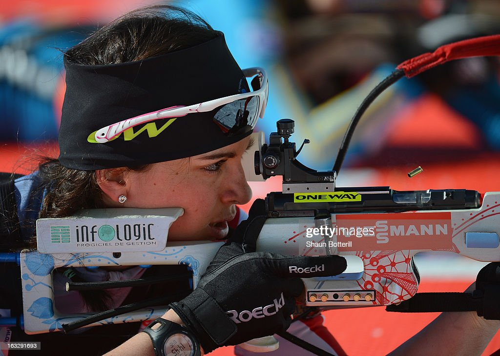 Sophie Boilley of France during Zeroing before the Women's 15km Individual Event during the E. ON IBU Biathlon World Cup at the 'Laura' Biathlon & Ski Complex on March 7, 2013 in Sochi, Russia.