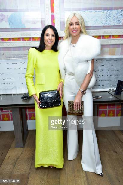 Sophie Bonvin and Amanda Cronin attend the launch of The Collector Geneva's Sophie Bonvin Code Collection in Collaboration with artist Bill Claps at...