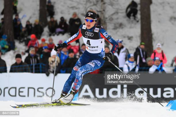 Sophie Caldwell of the United States competes in the Women's 14KM Cross Country Sprint qualification round during the FIS Nordic World Ski...