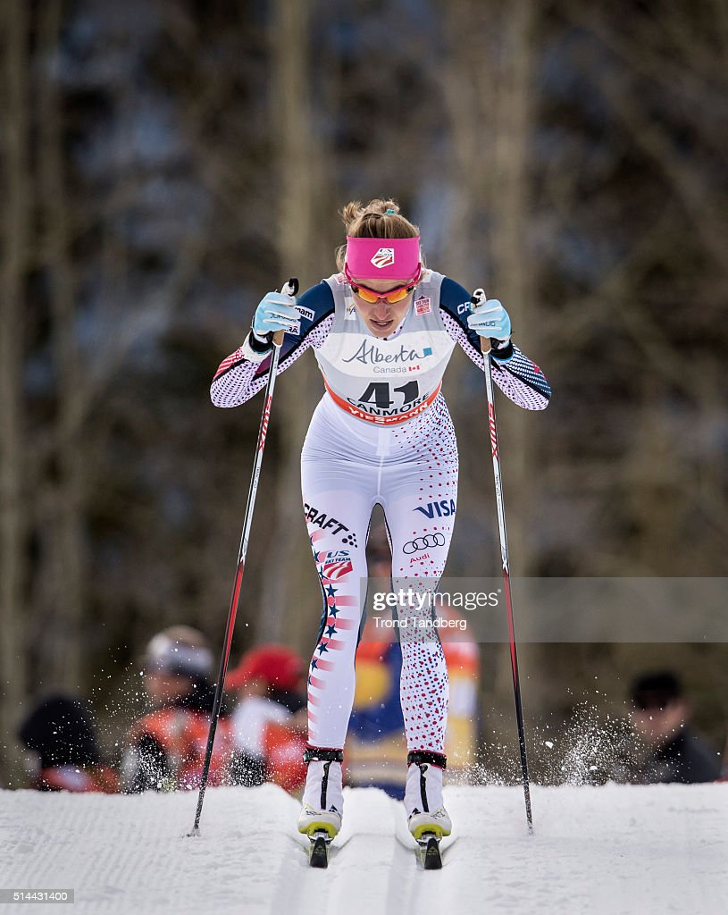 Sophie Caldwell of USA competes during Cross Country Ladies 15 km Sprint Classic on March 08 2016 in Canmore Canada