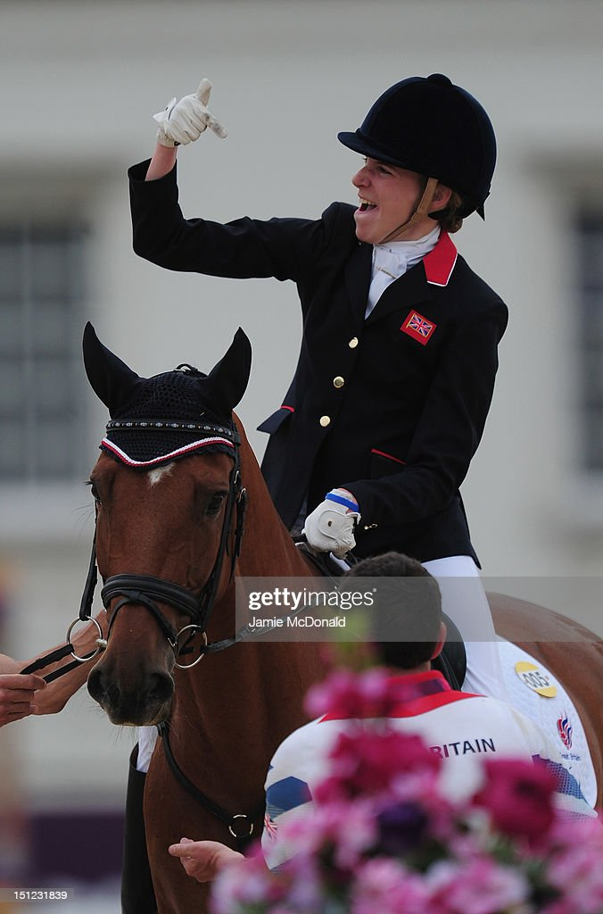 Sophie Christiansen of Great Britain rides Janero 6 to win Gold during the Equestrian Dressage Individual Freestyle Test - Grade 1a on day 6 of the London 2012 Paralympic Games at Greenwich Park on September 4, 2012 in London, England.