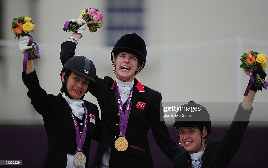 Sophie Christiansen of Great Britain wins Gold, Laurentia Tan of Singapore wins Silver and Helen Kerney of Ireland wins Bronze on day 6 of the London 2012 Paralympic Games at Greenwich Park on September 4, 2012 in London, England.
