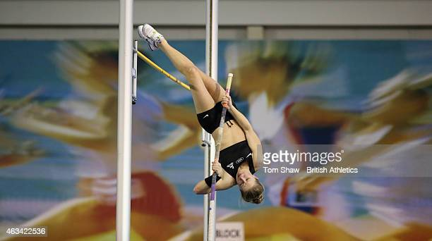 Sophie Cook of Great Britain in action in the womens Pole Vault during day 1 of the Sainsbury's Indoor British Championships at the English Institute...
