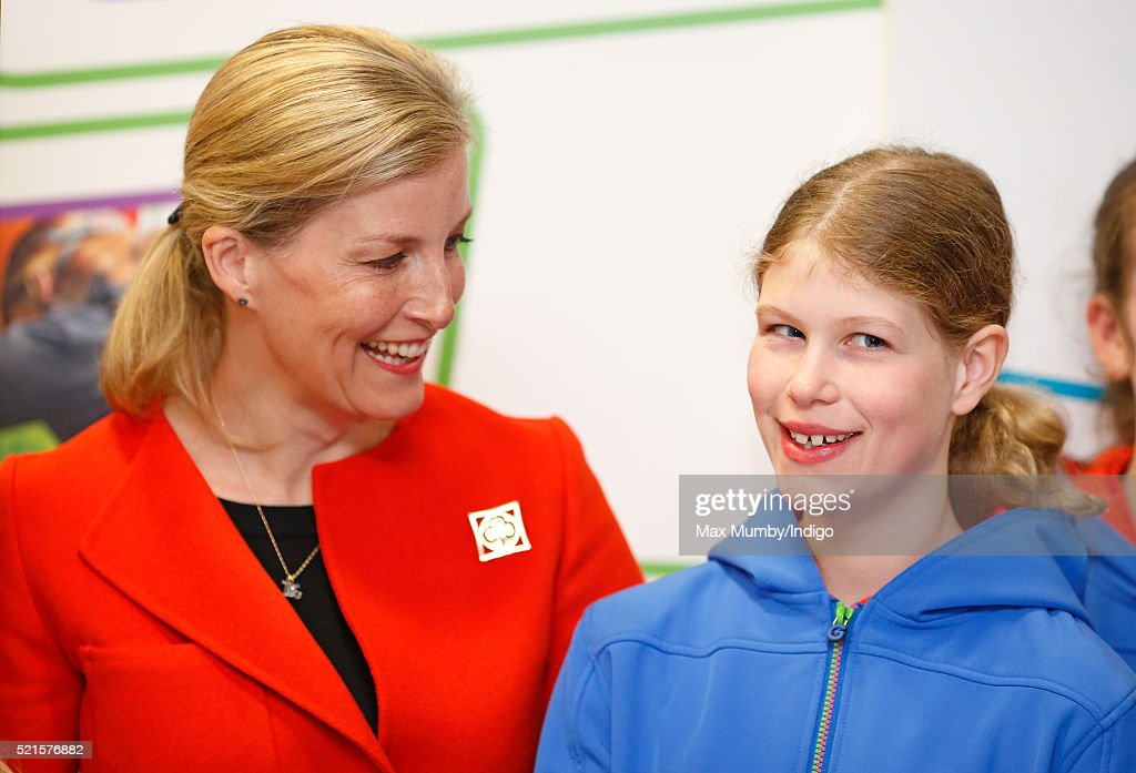 Sophie, Countess of Wessex accompanied by her daughter Lady Louise Windsor (wearing her Guides uniform) opens the newly refurbished Girlguiding head office on April 16, 2016 in London, England.
