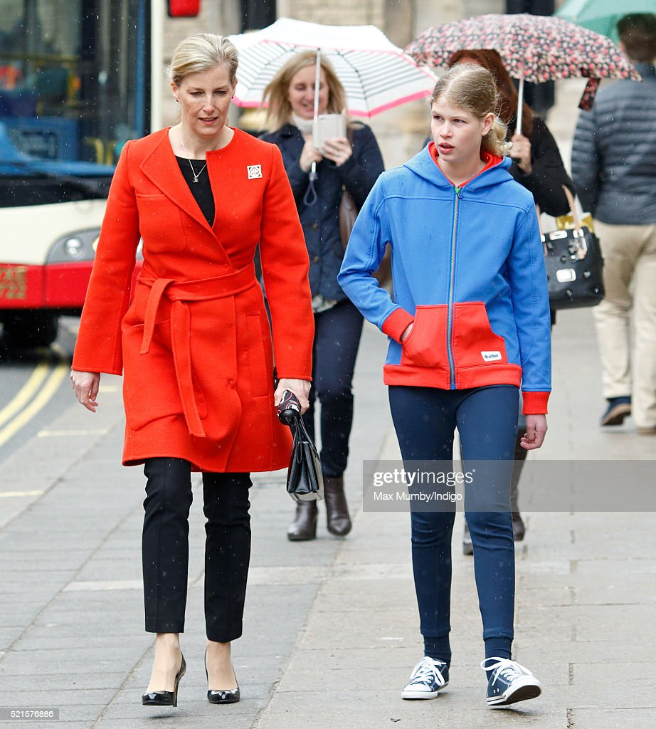 Sophie Countess of Wessex accompanied by her daughter Lady Louise Windsor departs after opening the newly refurbished Girlguiding head office on...