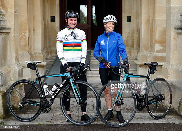 Sophie Countess of Wessex accompanied by Paralympic gold medalist Dame Sarah Storey poses for a photograph before departing RAF Halton on the last...