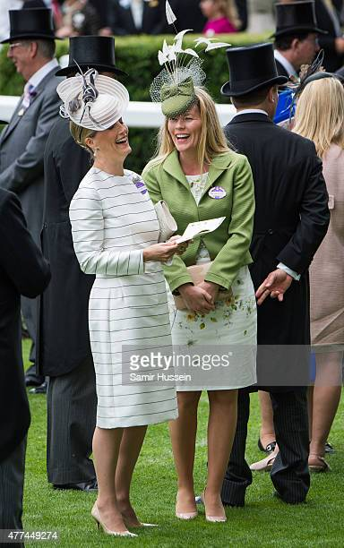 Sophie Countess of Wessex and Autumn Phillips attend day 2 of Royal Ascot at Ascot Racecourse on June 17 2015 in Ascot England