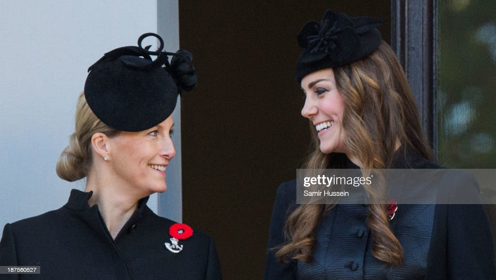 Sophie, Countess of Wessex and Cahterine, Duchess of Cambridge attend Remembrance Sunday at the Cenotaph on Whitehall on November 10, 2013 in London, England.