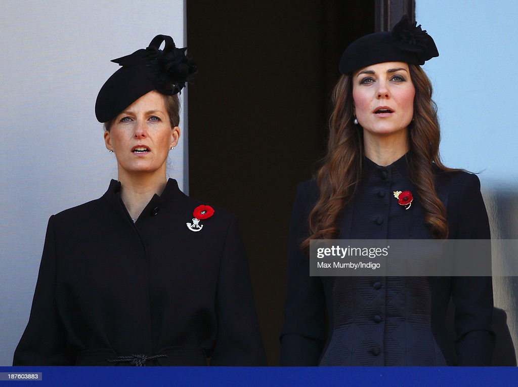 Sophie, Countess of Wessex and <a gi-track='captionPersonalityLinkClicked' href=/galleries/search?phrase=Catherine+-+Duchess+of+Cambridge&family=editorial&specificpeople=542588 ng-click='$event.stopPropagation()'>Catherine</a>, Duchess of Cambridge attend the annual Remembrance Sunday Service at the Cenotaph on November 10, 2013 in London, United Kingdom. People across the UK gathered to pay tribute to service personnel who have died in the two World Wars and subsequent conflicts, as part of the annual Remembrance Sunday ceremonies.