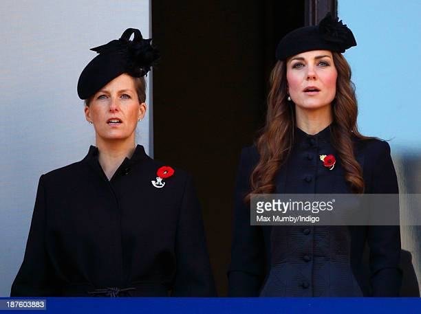 Sophie Countess of Wessex and Catherine Duchess of Cambridge attend the annual Remembrance Sunday Service at the Cenotaph on November 10 2013 in...