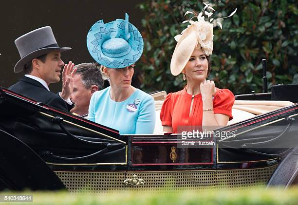 Sophie Countess of Wessex and Crown Princess Mary of Denmark arrive by carrieage for day 2 of Royal Ascot at Ascot Racecourse on June 8 2016 in Ascot...
